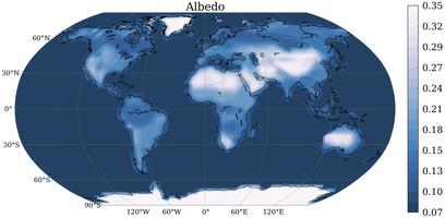 Mapa del albedo de la Tierra, es decir, el ratio de luz reflejada respecto a la luz recibida (las zonas más claras son las que más albedo tienen). Fuente: Nature.
