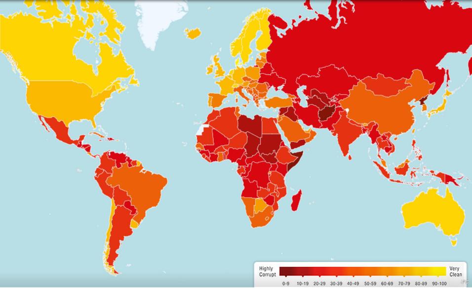 El índice de Percepción de la Corrupción (IPC) de 2013, elaborado por la ONG Transparencia Internacional. Fuente: http://www.transparency.org/