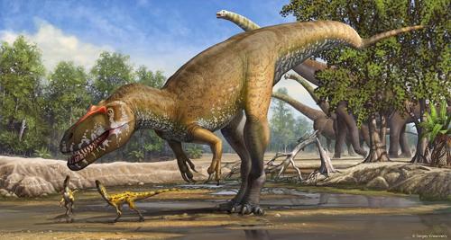 Reconstrucción de Torvosaurus  gurneyi en su entorno. Imagen: Sergey Krasovskiy.