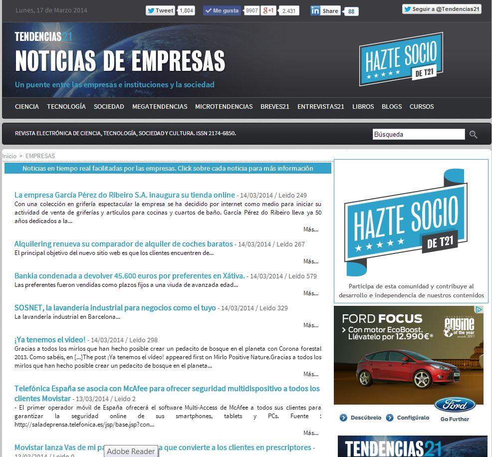 Imagen de la nueva sección para empresas e instituciones de Tendencias21. Fuente: Tendencias21.