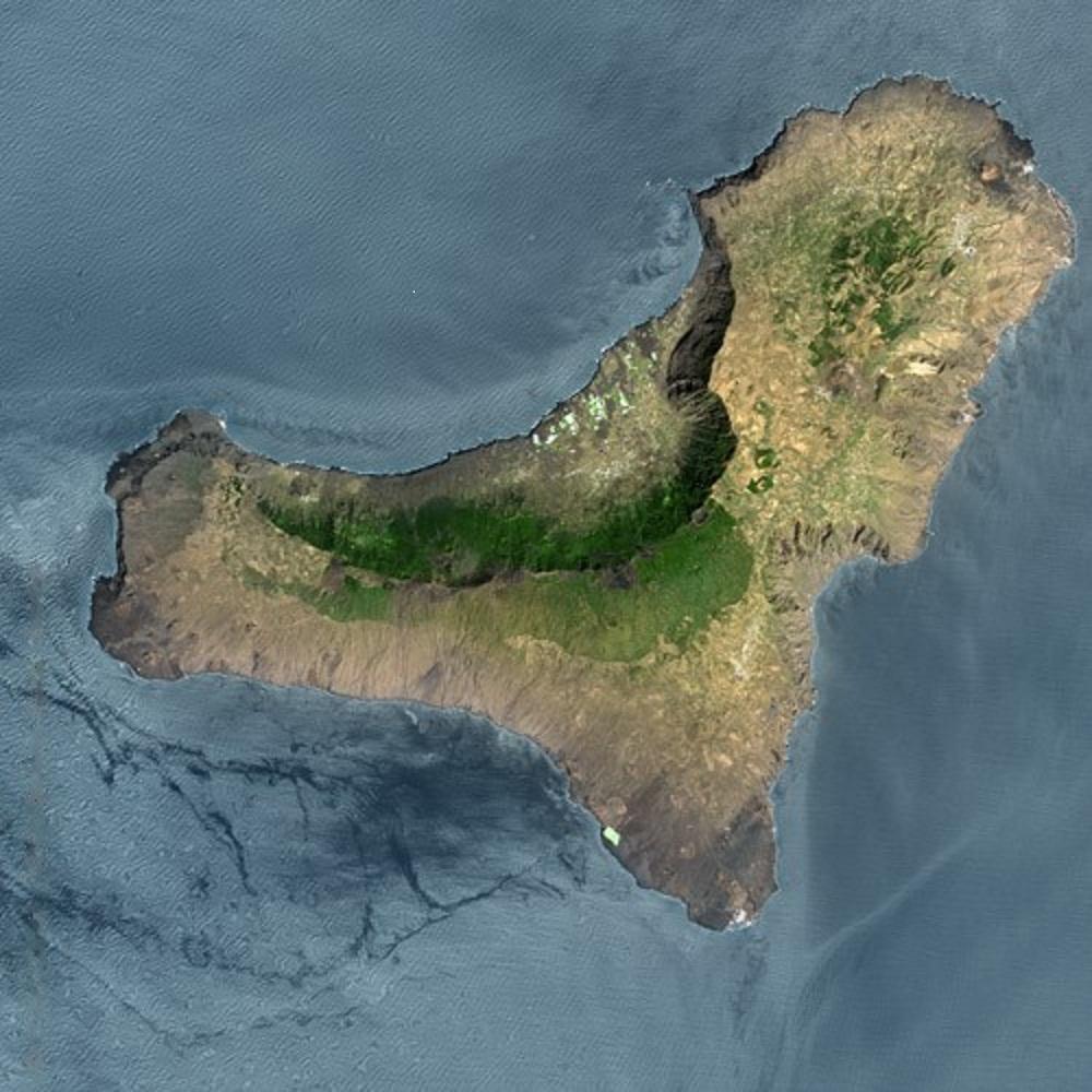 El Hierro, imagen de satélite. Fuente: Cnes - Spot Image.