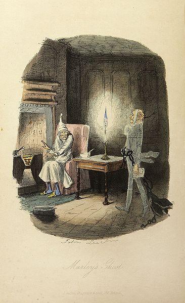 Scrooge y el fantasma de Jacob Marley. Ilustración de John Leech de 1843. Fuente: Wikipedia.