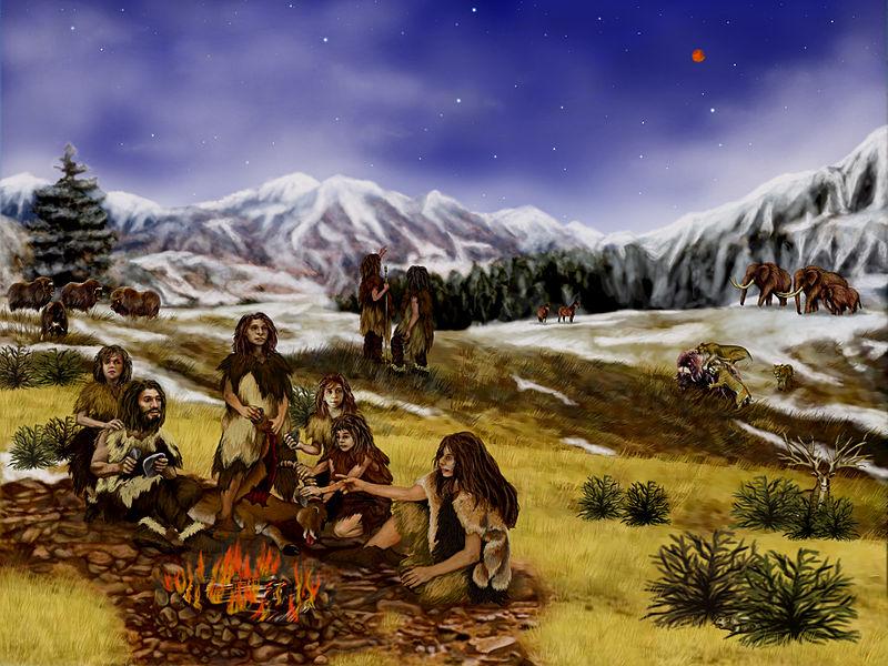 Una familia neandertal. Imagen: Randii Oliver. Fuente: Wikimedia Commons.