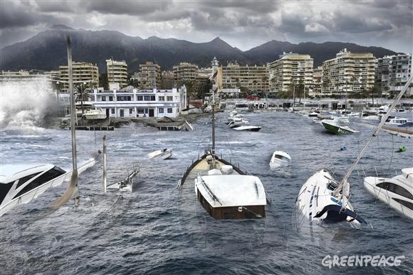 Marbella afectada por el cambio climático. Imagen: Pedro Armestre y Mario Gómez. Fuente: Greenpeace.