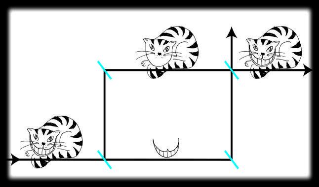 El gato de Cheshire cuántico se desplaza separado de su sonrisa, hasta que vuelven a juntarse. Imagen: Leon Filter. Fuente: TUWien.