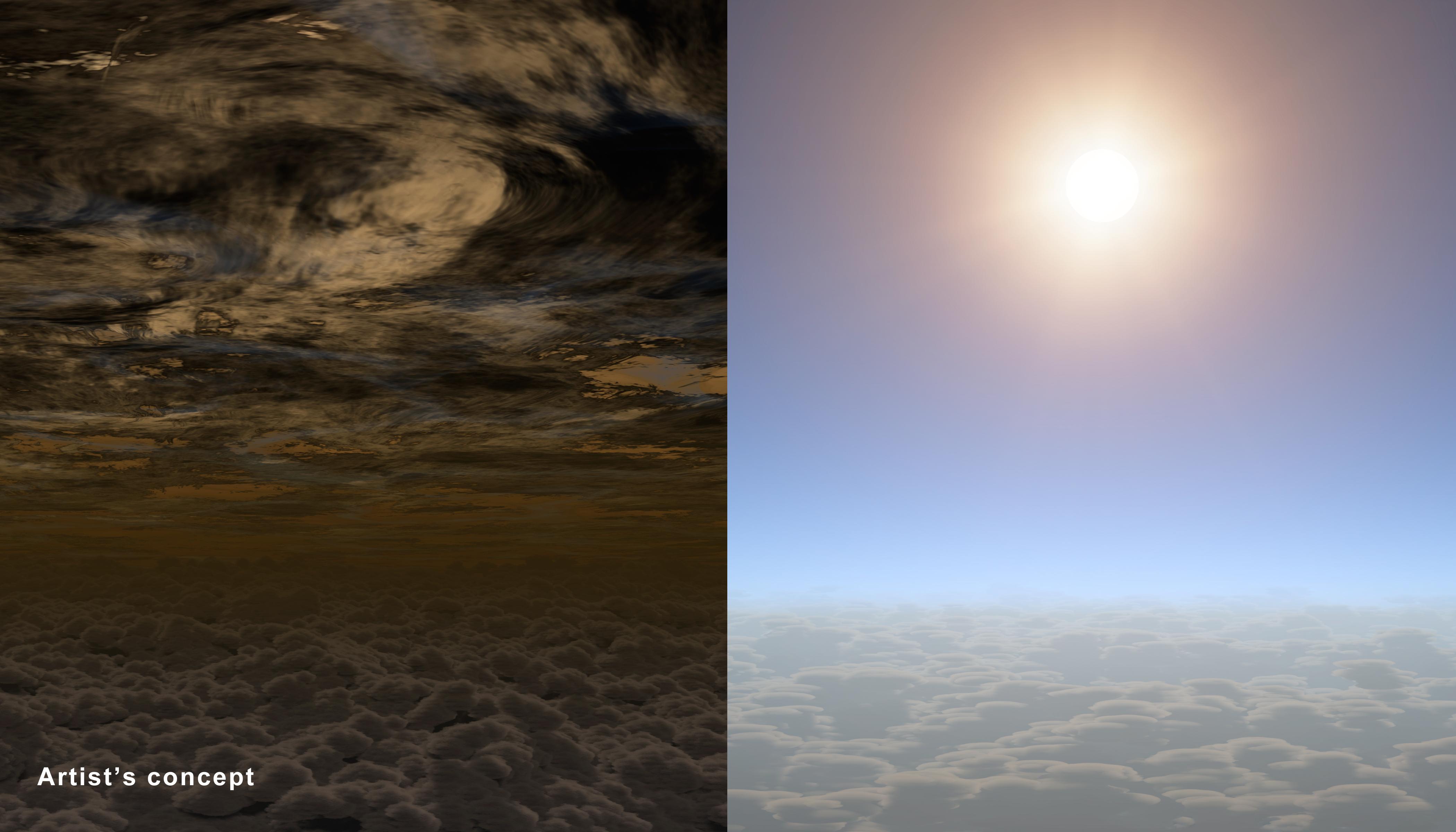 Hasta ahora todos los exoplanetas del tamaño de la Tierra tenían cielos como los de la izquierda; HAT-P-11b los tiene claros, como los de la derecha. Fuente: NASA/JPL-Caltech.