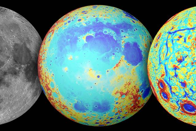 La Luna, vista en el espectro visible (izda.), con colores topográficos (rojo es alto y azul bajo), y según los gradientes de gravedad observados por Grail (dcha.). Fuente: NASA/Colorado School of Mines/MIT/JPL/Goddard Space Flight Center.