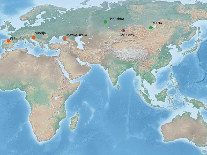 Mapa de los fósiles del Pleistoceno con ADN hecho público. En naranja: Neandertales; en azul: Denisovanos; en verde: humano modernos. © MPI for Evolutionary Anthropology/ Bence Viola.