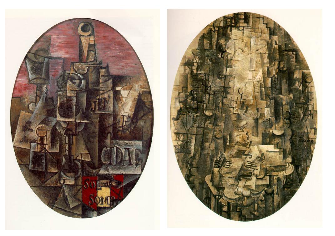 Reconoció las similitudes entre 'Hombre y violín de Braque y 'Bodegón español: Sol y Sombra' de Picasso, ambas origen del cubismo. Fuente: Rutgers