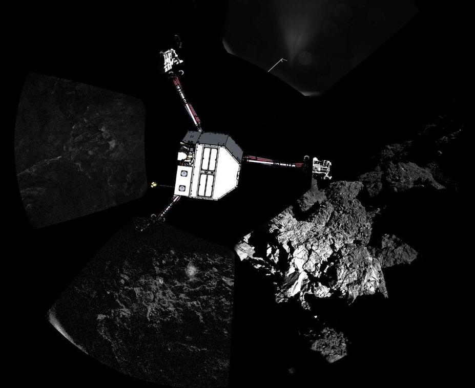 Primera panorámica del cometa tomada por Philae. La ESA ha superpuesto la imagen del cometa en la posición en que se cree que estaba al sacar la foto. Fuente: ESA.