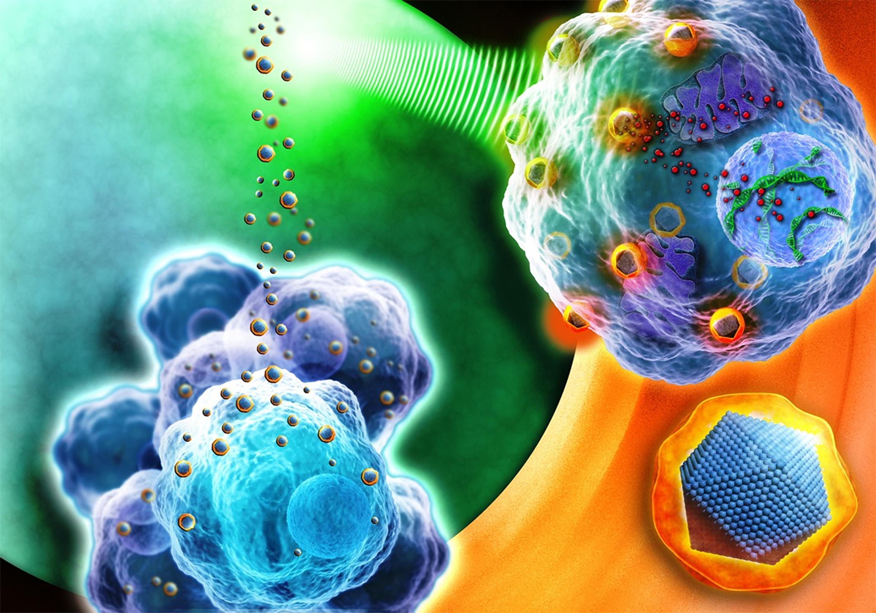 Nanopartículas atacando células tumorales. Fuente: AlphaGalileo.