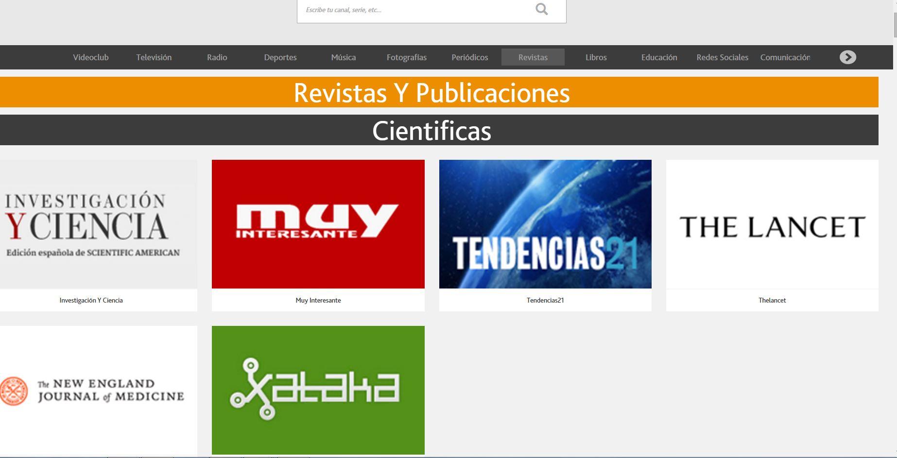 Canal de revistas científicas en Nimbo Televisión, donde figura Tendencias21. Foto: T21