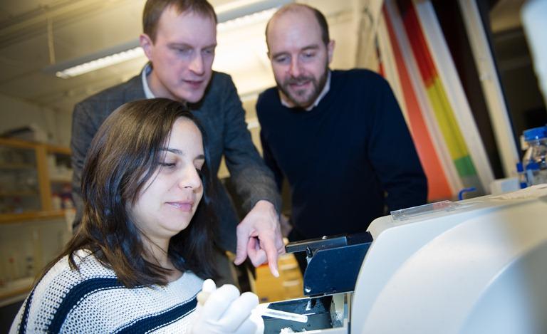 De izquierda a derecha, los investigadores Ana Muñoz Manchado, Sten Linnarsson y Jens Hjerling-Leffler. Imagen: Stefan Zimmerman. Fuente: Karolinska Institutet.