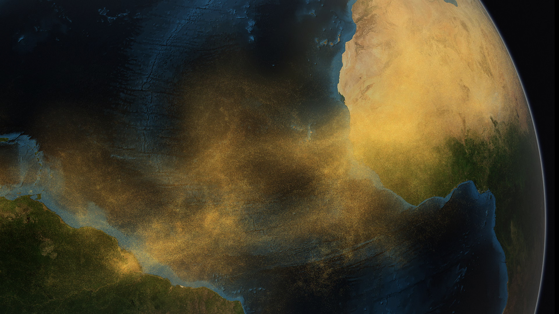 Imagen conceptual del polvo del Sahara viajando a través del Atlántico. Imagen: Conceptual Image Lab. Fuente: NASA/Centro de Vuelo Espacial Goddard.