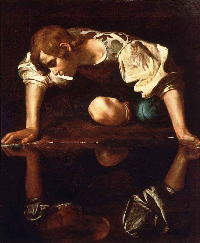 'Narciso en la fuente', atribuido a Caravaggio. Fuente: Wikipedia.