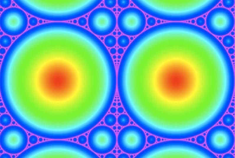 El tamiz de Apolonio cuantifica la capacidad del fractal pila de arena para recordar que solía vivir en una red cuadrada. Imagen: Levine/Pedgen/Smart. Fuente: Universidad de Cornell.