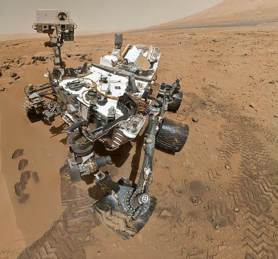 Autorretrato de Curiosity en Marte en octubre de 2012. Imagen: NASA. Fuente: Wikipedia.