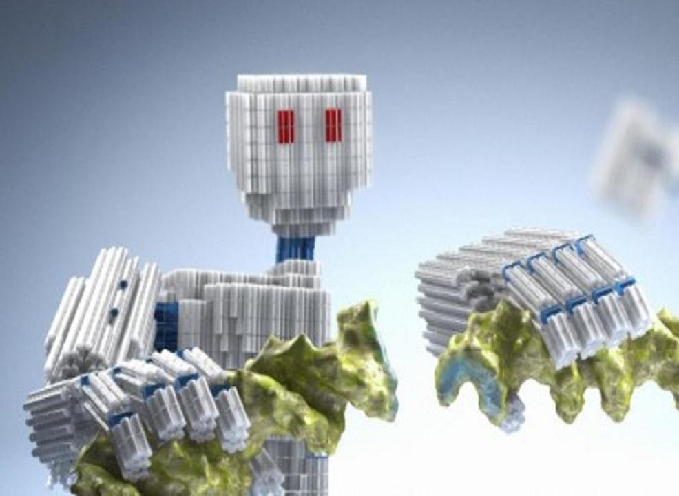 Ilustración de componentes auto-ensamblables y nanométricos. Imagen: C. Hohmann. Fuente: Nanonystems Initiative Munich.