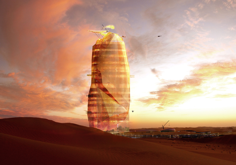 La ciudad vertical, vista desde la distancia. Fuente: Oxo Architectes.