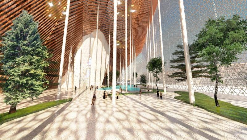 La entrada al edificio, con la piscina. Fuente: Oxo Architectes.
