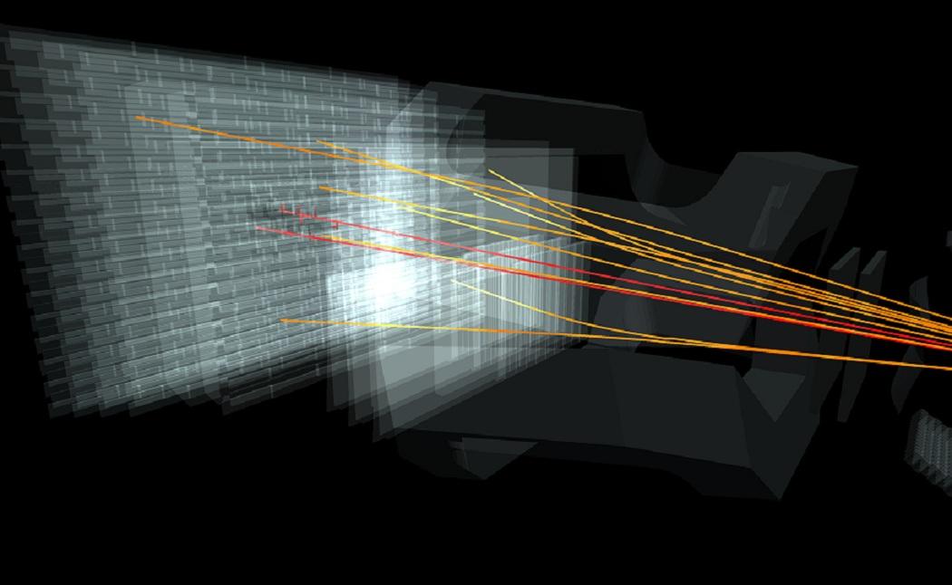 Recreación de colisiones entre partículas subatómicas en el experimento LHCb. Fuente: Fermilab.