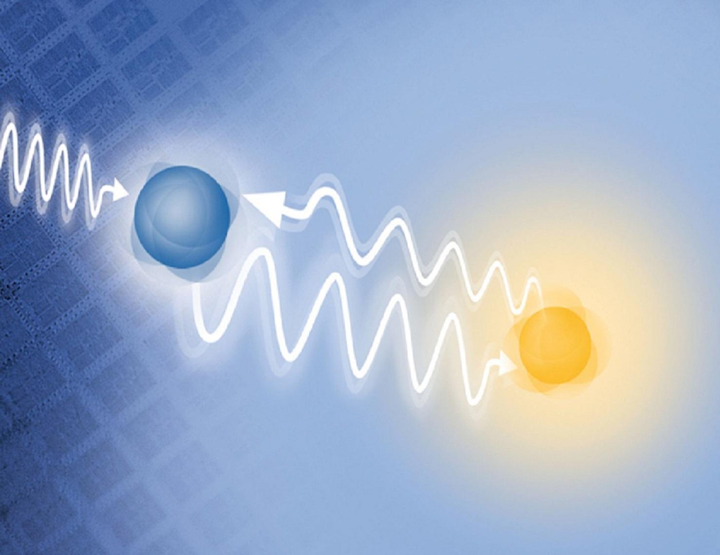 Partículas subatómicas relacionándose entre ellas a distancia, a través de señales casi instantáneas. Fuente: Wired.