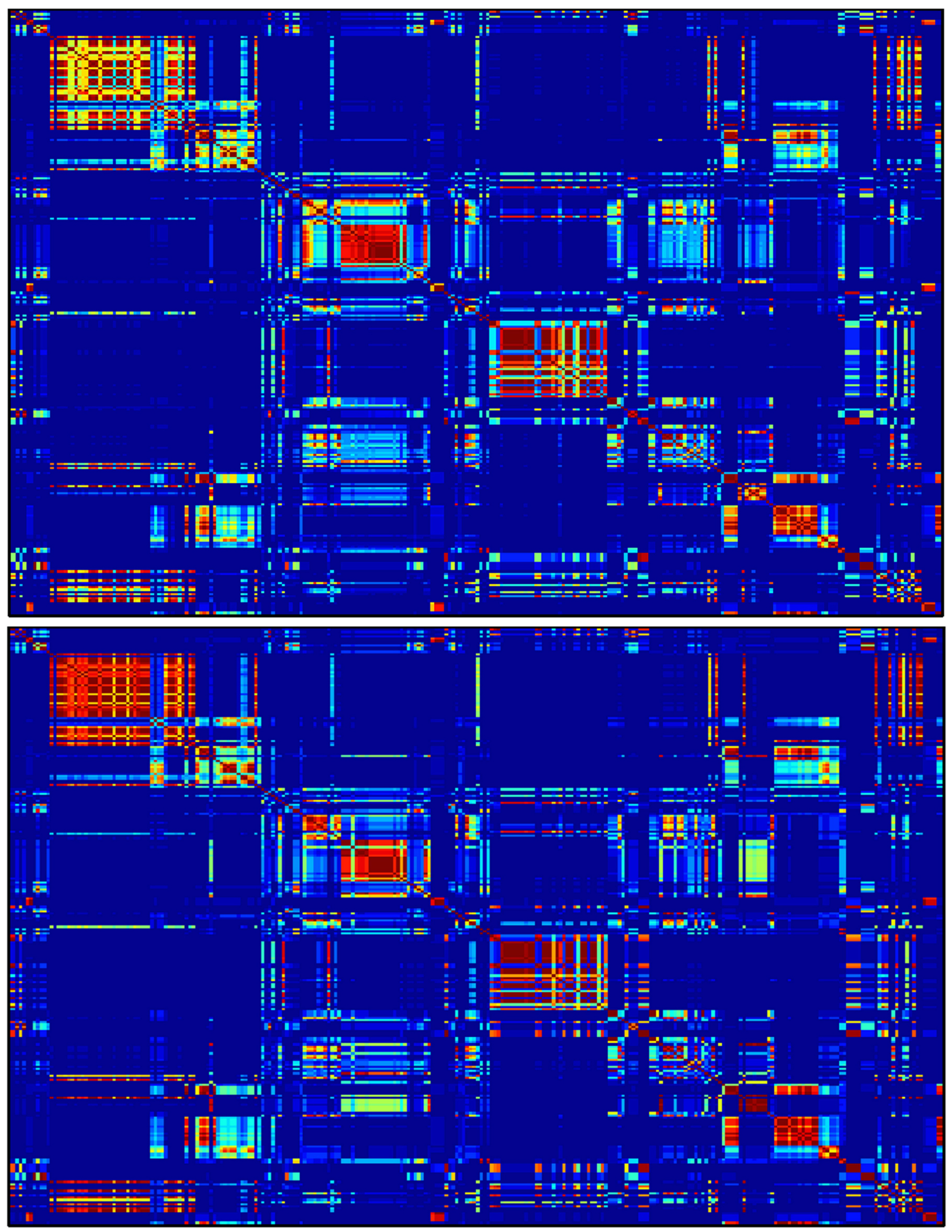 Esquema de las conexiones cerebrales durante la tarea de control (arriba) y la de memoria.
