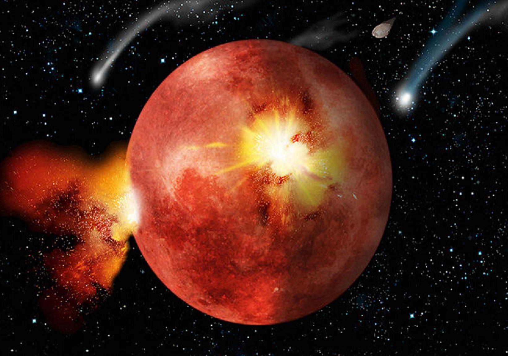 """Obra artística de cómo pudo ser el posible bombardeo intenso tardío. Imagen: """"Lunar cataclysm"""", de Timwether. Fuente:  Disponible bajo la licencia CC BY-SA 3.0 vía Wikimedia Commons."""