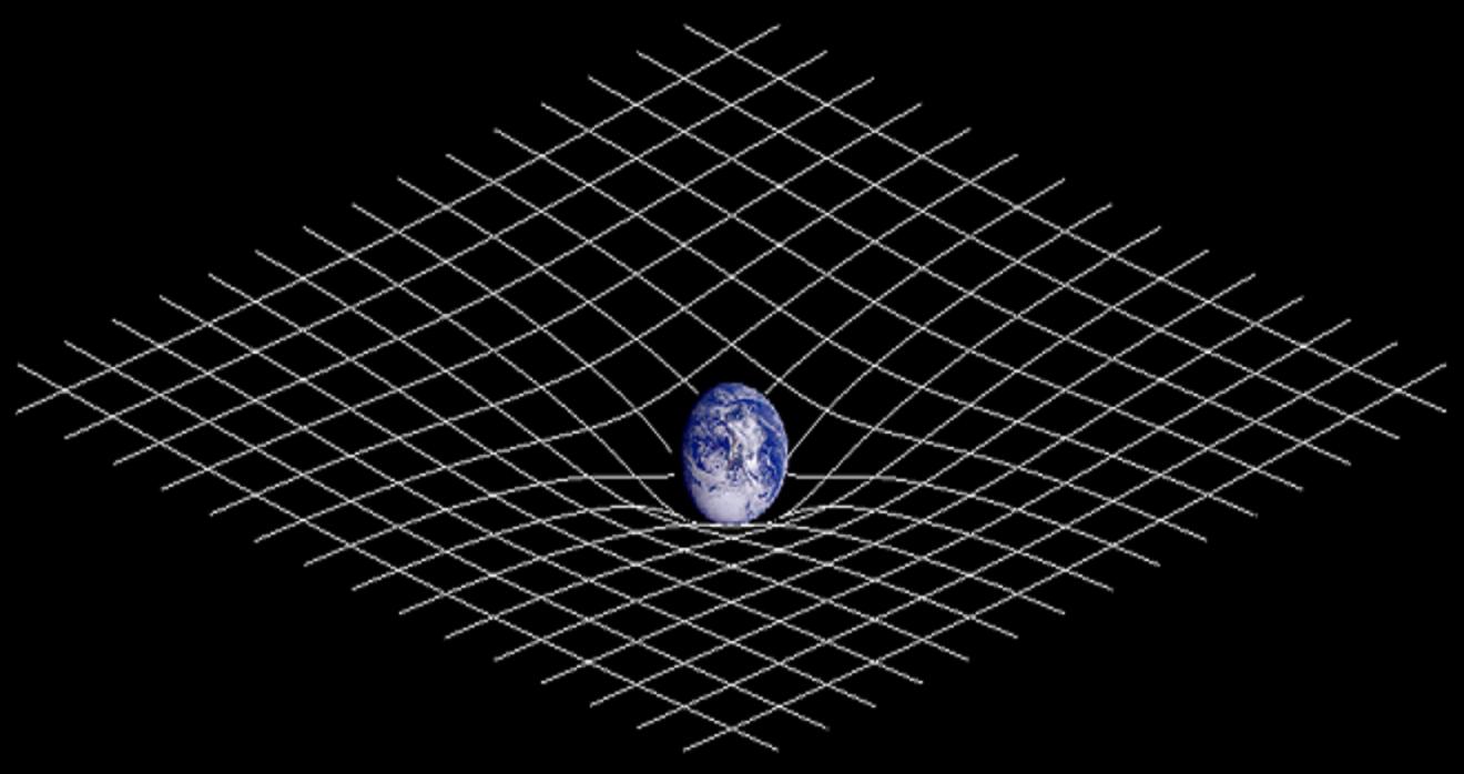 Representación esquemática bidimensional de la deformación del espacio-tiempo en el entorno de la Tierra. Fuente: Wikipedia.