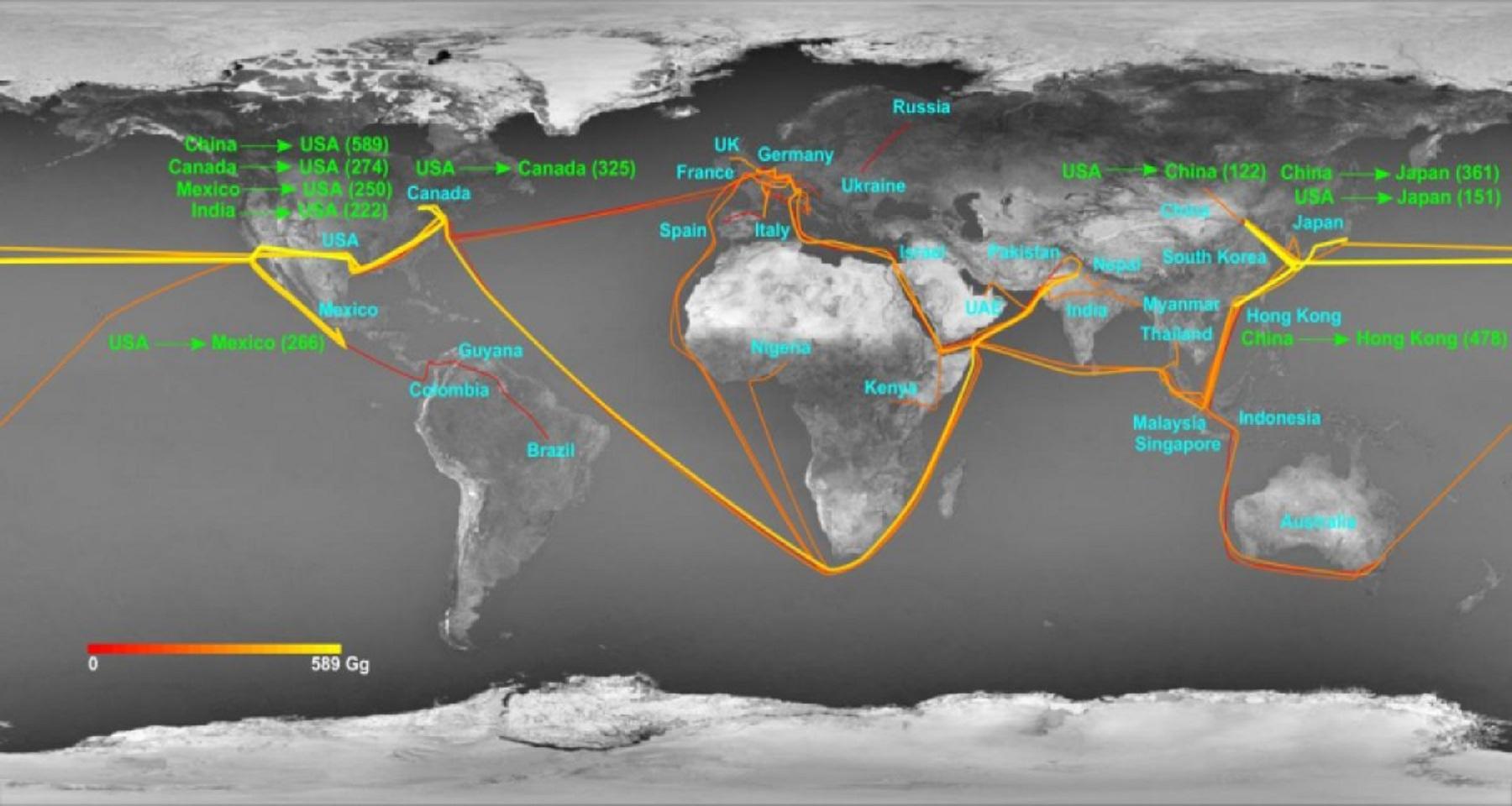 Rutas de intercambio de nitrógeno y su intensidad. Fuente: Universidad de Sídney.