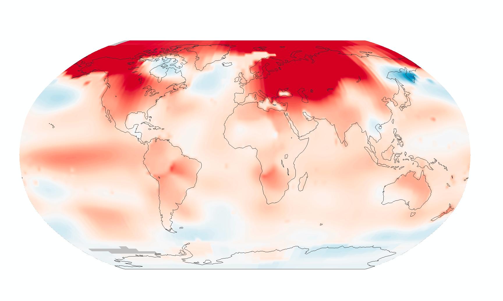 El calor en febrero 2016. En rojo las diferencias de temperatura en relación a la media. The Earth Observatory