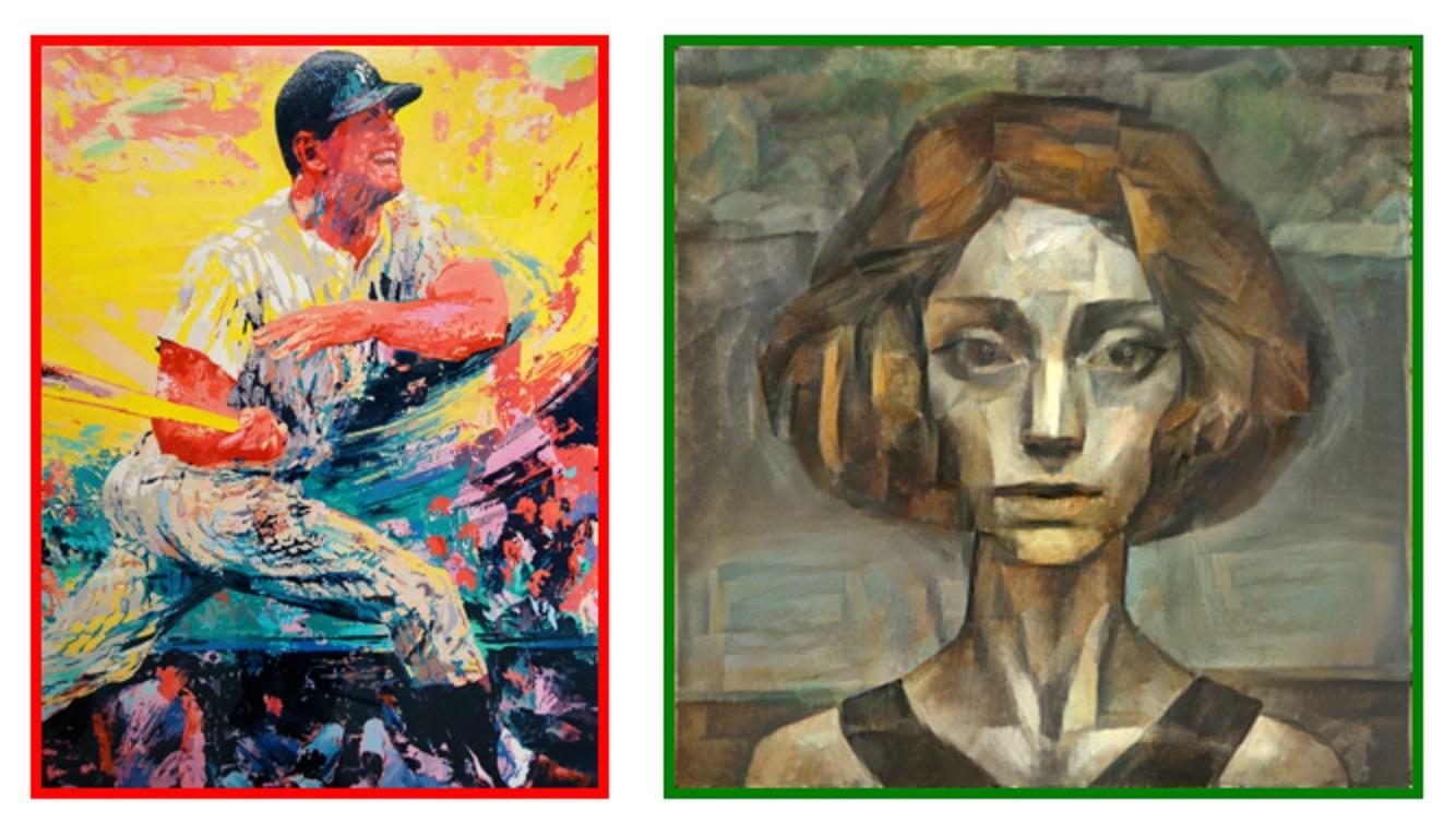 A la izquierda se muestra la pintura real (cuadro rojo) y a la derecha la generada por ordenador (cuadro verde) Fuente: DeepArt