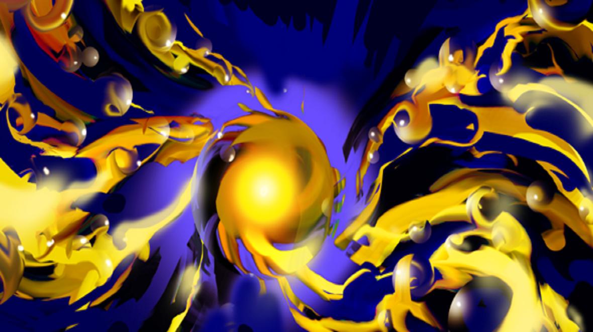 Las nanopartículas de oro recubiertas de polímeros, en la fase de expansión. Imagen: Yi Ju. Fuente: Universidad de Cambridge.