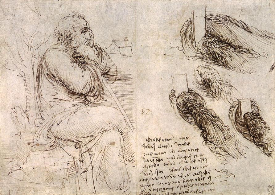 Anciano pensativo. Hay quien considera que este dibujo es el último autorretrato de Leonardo. Imagen: Biblioteca Real, Windsor. Fuente: Wikipedia.