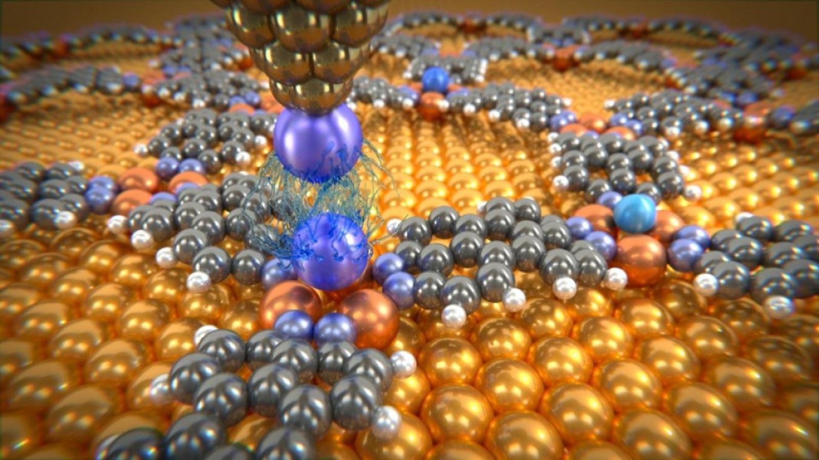 Átomos de gas noble depositados en una red molecular, analizados con la punta de un microscopio, a la que se ha añadido un átomo de xenón. Las mediciones han proporcionado información sobre las débiles fuerzas de van der Waals entre estos átomos individuales. Fuente: Departamento de física de la Universidad de Basilea.