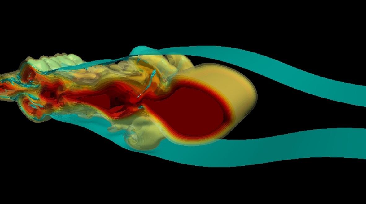 Modelo en 3-D de las ondas internas de modo 2. Fuente: Universidad de Waterloo.