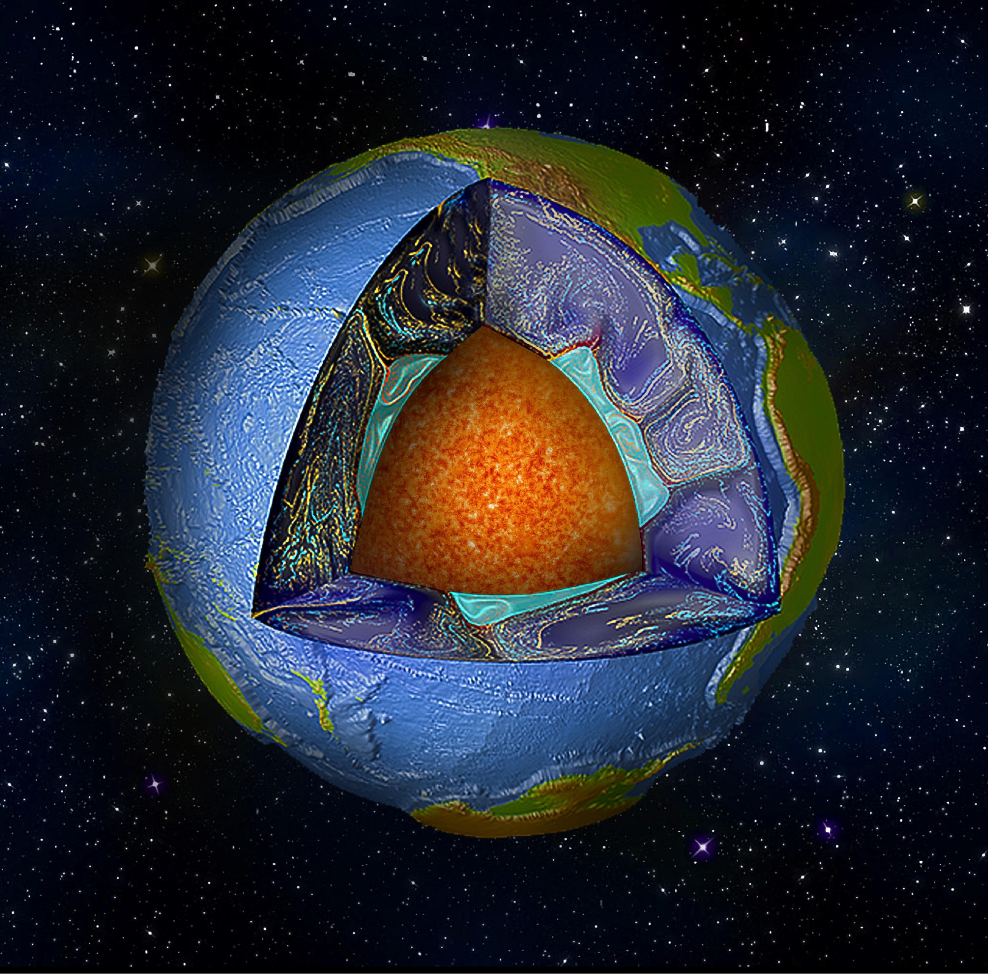 El interior de la Tierra. Imagen: Mingming Li. Fuente: Universidad de Colorado.