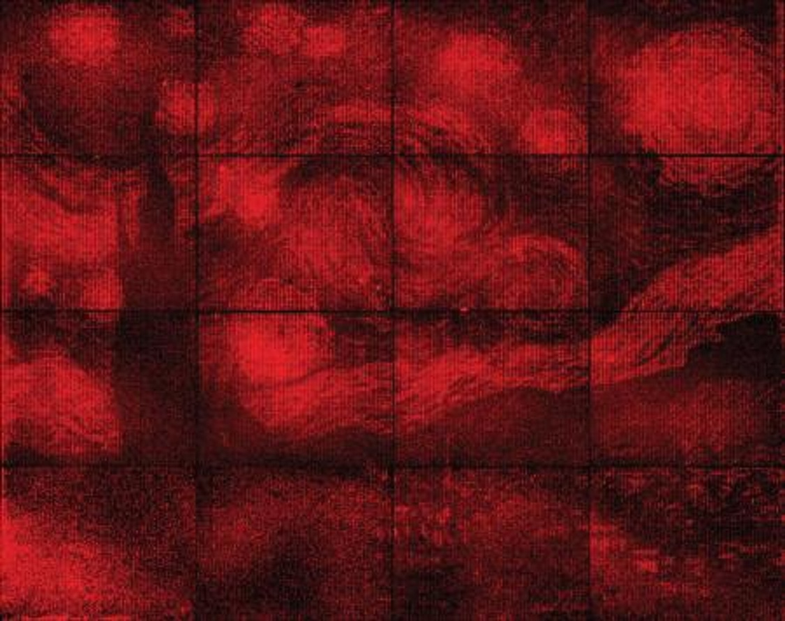 La reproducción de 'La noche estrellada' tiene el tamaño de una moneda de 10 centavos. Imagen: P. Rothemund/A. Gopinath. Fuente: Caltech.