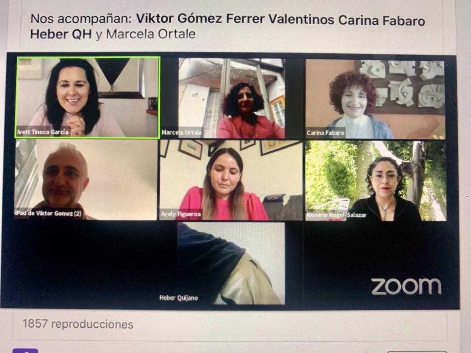 Imagen del conversatorio sobre QUINO y MAFALDA del sábado 3 de octubre 2020