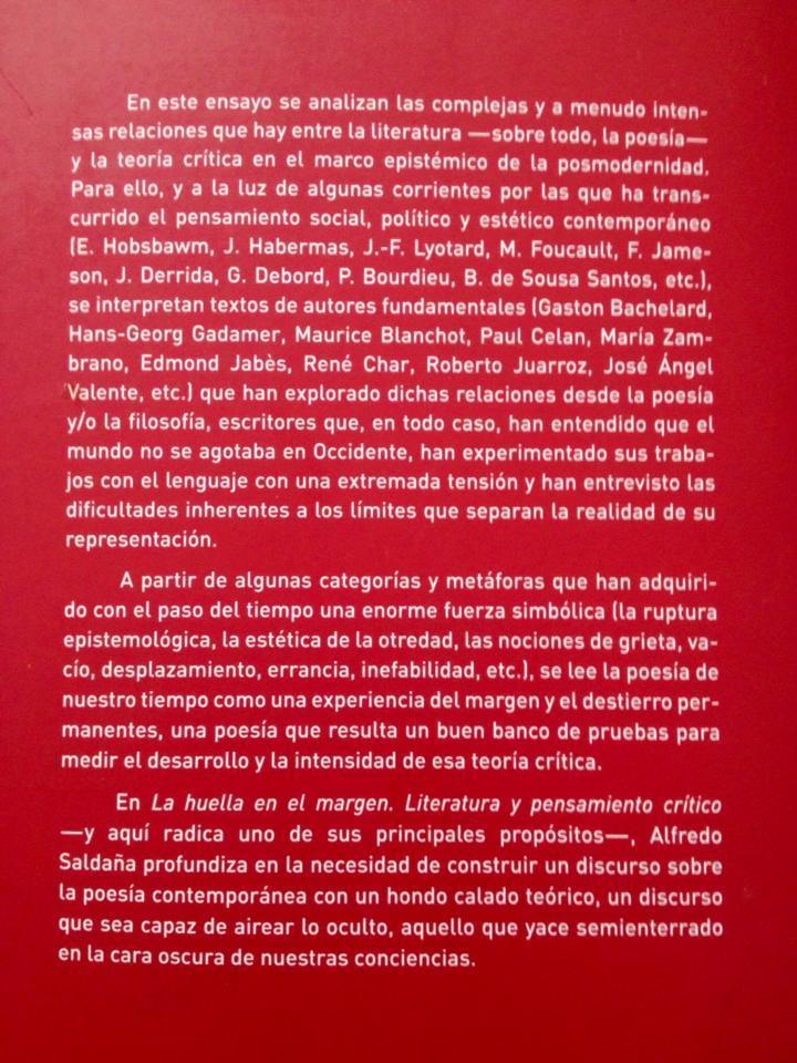 LA HUELLA EN EL MARGEN (Literatura y pensamiento crítico), de Alfredo Saldaña